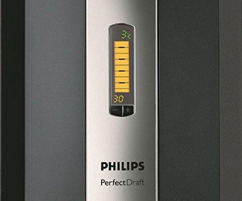 Ecran LCD de la machine à bière Philips : indicateur température, volume et jours restants
